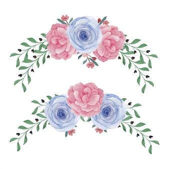 Disposizione dei fiori di peonia rosa dipinta a mano dell'acquerello