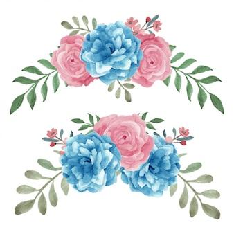 Disposizione dei fiori rosa dipinta a mano dell'acquerello