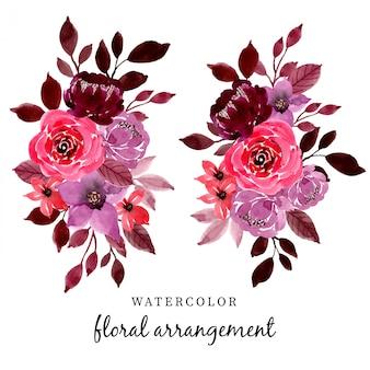 Disposizione dell'acquerello fiore rosso e marrone