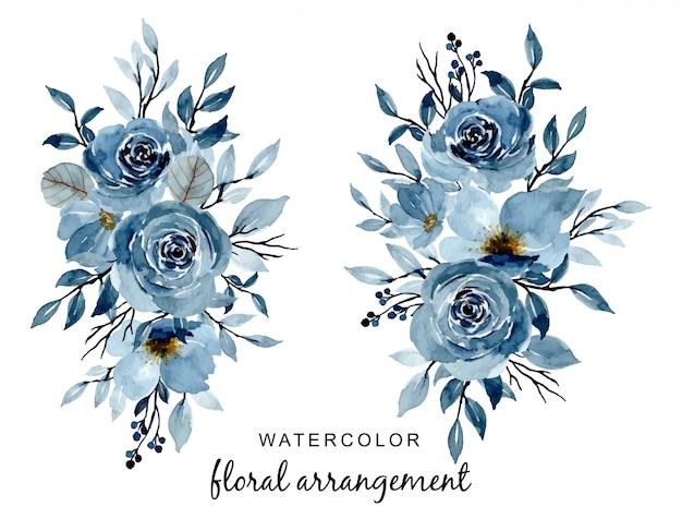 Disposizione dell'acquerello floreale indaco blu