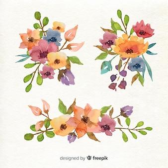 Disposizione della collezione di bouquet floreali