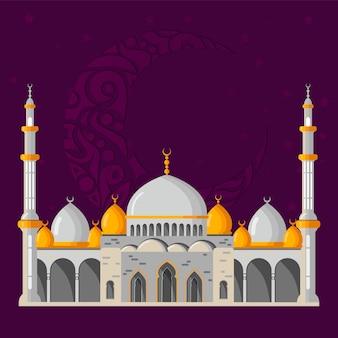 Disposizione di cartolina d'auguri di vettore di ramadan kareem con la moschea, i minareti, le lampade brillanti arabe e la decorazione ornamentale.