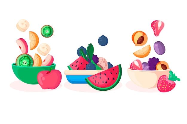 Disposizione di ciotole per frutta e insalata