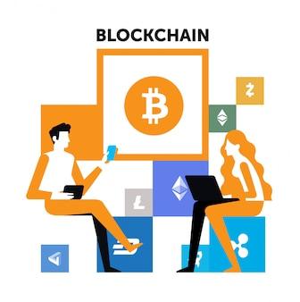 Disposizione di disegni di illustrazioni di blockchain. un uomo e una donna possono cripare.