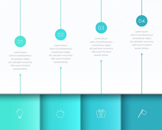 Disposizione di pagina di vettore 3d infographic blu con passaggi da uno a quattro