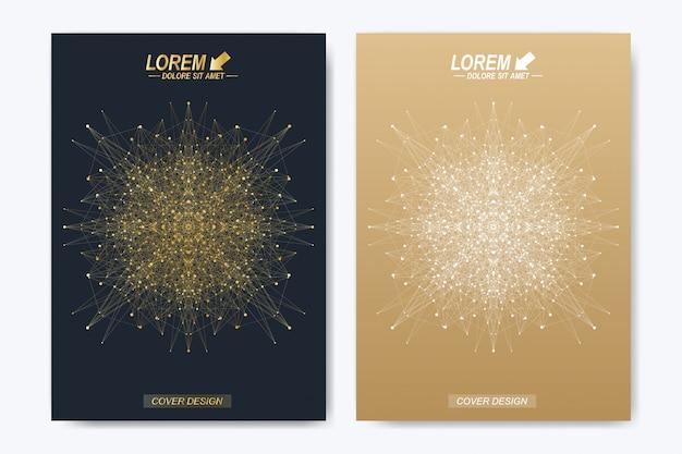 Disposizione dorata in formato a4. layout del libro di design aziendale, scientifico e tecnologico. presentazione con mandala.