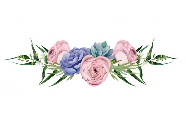 Disposizione floreale dell'acquerello, disegnata a mano