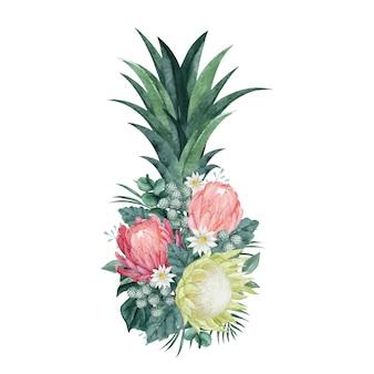 Disposizione floreale di ananas con bella protea e foglie tropicali