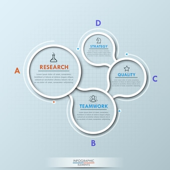 Disposizione infographic moderna con quattro elementi con lettere circolari collegati