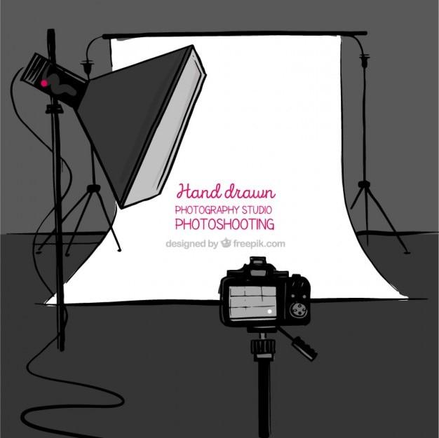 Disposizione photo disegnato studio con accessori background
