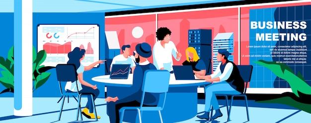 Disposizione piana dell'insegna del modello della pagina di atterraggio di riunione d'affari.