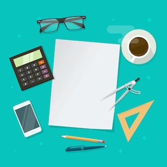 Disposizione piana dello scrittorio del tavolo da lavoro con la pagina della carta in bianco e gli oggetti di istruzione