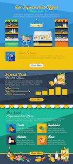 Disposizione piatta infografica supermercato con le migliori offerte di prodotti pubblicitari ed eco e cibo naturale