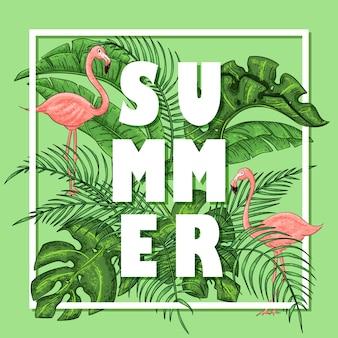 Disposizione tropicale estiva con fenicotteri, foglie di palma e fiori esotici.