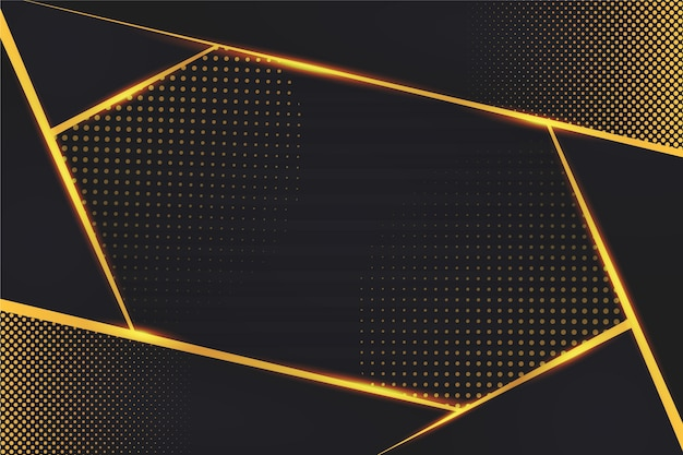Dissolvenza di punti e linee dorate su fondo scuro