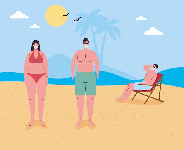 Distanza sociale in spiaggia, persone che indossano mascherina medica mantengono le distanze in spiaggia, nuovo concetto normale di spiaggia estiva dopo coronavirus o covid 19