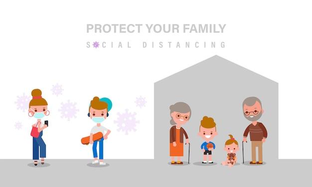 Distanze sociali, anziani e bambini dovrebbero rimanere a casa per sicurezza durante la pandemia del virus covid-19. le persone a distanza. illustrazione in stile design piatto cartoon.