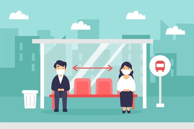 Distanze sociali illustrate nei trasporti pubblici