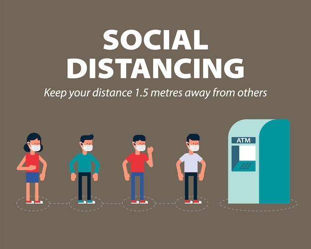 Distanze sociali, mantenere la distanza minima di 1 metro in pubblico per proteggere da covid-19, infografica coronavirus