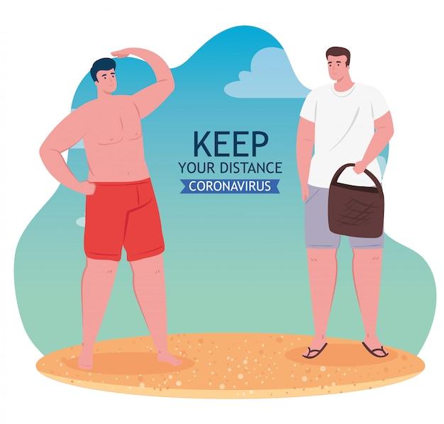 Distanze sociali sulla spiaggia, uomini mantengono le distanze, nuovo concetto normale di spiaggia estiva dopo coronavirus o covid 19