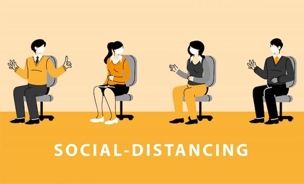 Distanze sociali, uomini d'affari seduti su una sedia indossano maschere