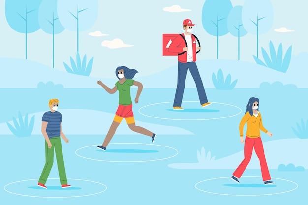 Distanziamento sociale in un concetto di parco