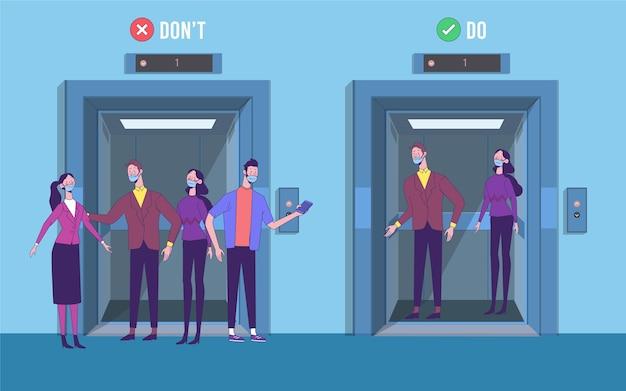 Distanziamento sociale in un'illustrazione di ascensore