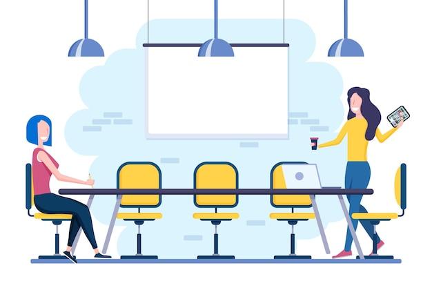 Distanziamento sociale in un tema di illustrazione della riunione
