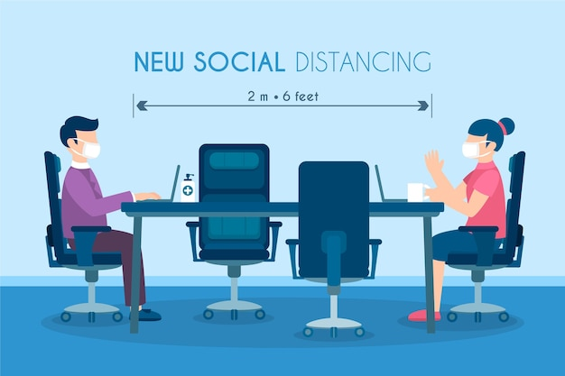 Distanziamento sociale in un tema di incontro