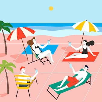 Distanziamento sociale tra amici sulla spiaggia