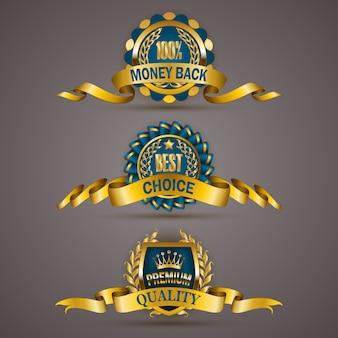 Distintivi d'oro con corona di alloro