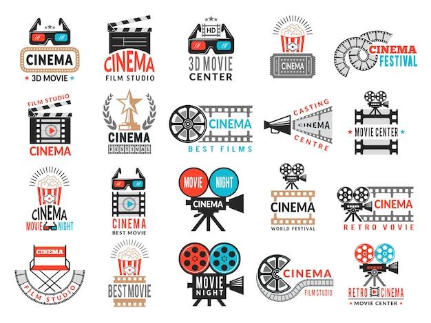 Distintivi del cinema. simboli di produzione cinematografica fotocamera regista sedia film nastro collezione logo