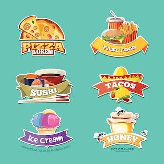 Distintivi dell'alimento messi con le illustrazioni dell'alimento