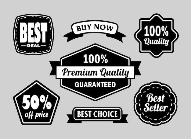 Distintivi dell'etichetta best deal e di qualità premium