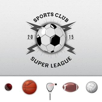 Distintivi dell'università della lega ed etichette calcio