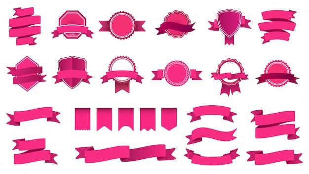 Distintivi della bandiera del nastro. cornice con nastro, badge forma decorativa astratta e set di nastri curvi. collezione di etichette e francobolli rosa. oggetti con banderole e gagliardetti