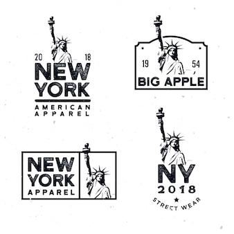 Distintivi di abbigliamento di new york, stampe di t-shirt di design con la statua della libertà monocromatica dettagliata