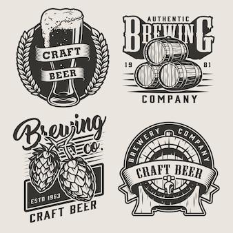 Distintivi di birra artigianale monocromatica vintage