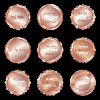 Distintivi di bronzo di lusso e etichette prodotto di qualità premium
