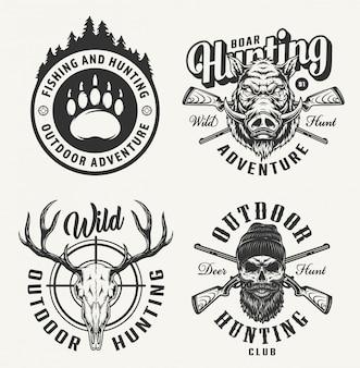 Distintivi di caccia monocromatici vintage