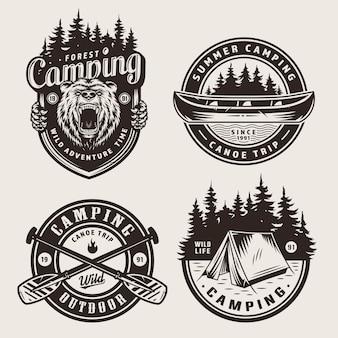 Distintivi di campeggio monocromatici vintage