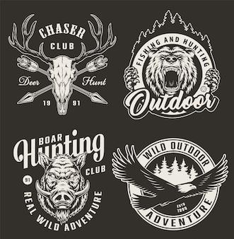 Distintivi di club di caccia monocromatico vintage