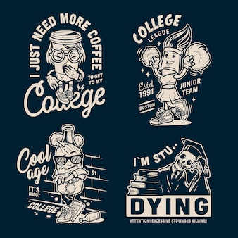 Distintivi di college vintage monocromatici