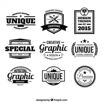 Distintivi di design in stile retrò