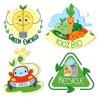 Distintivi di ecologia design disegnato a mano