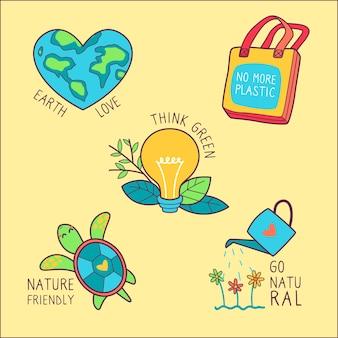 Distintivi di ecologia disegnati a mano multicolore