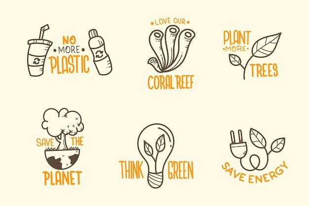 Distintivi di ecologia disegnati a mano