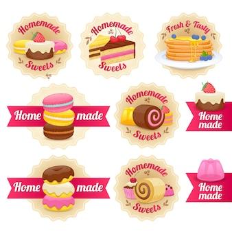 Distintivi di etichette dolci fatti in casa con nastri impostati.