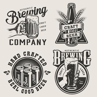 Distintivi di fabbrica di birra monocromatici vintage