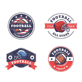 Distintivi di football americano con stile retrò